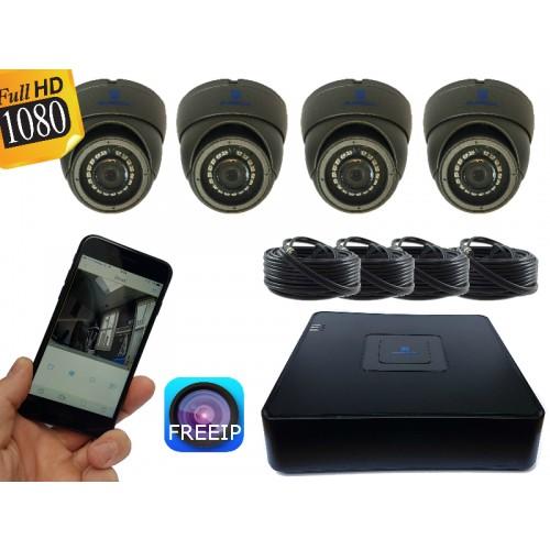 FULL HD camerasysteem met 4 dome 2,0 Mega pixel camera's